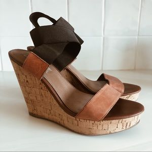 Black and Tan Steve Madden Strappy Cork Wedges